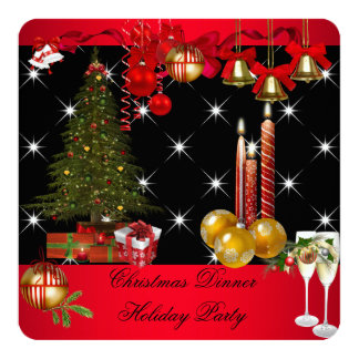"Christmas Dinner Holiday Party Red White 2 5.25"" Square Invitation Card"