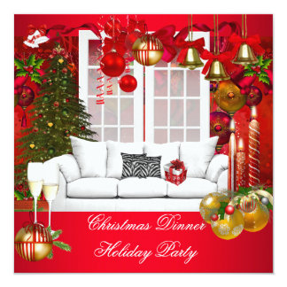 "Christmas Dinner Holiday Party Red White 5.25"" Square Invitation Card"