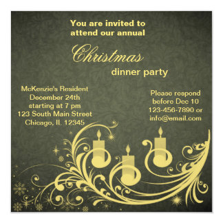 "Christmas Dinner 5.25"" Square Invitation Card"