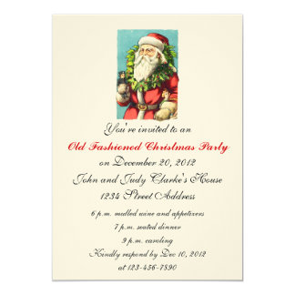 Christmas Dinner Invitations Vintage Santa Claus