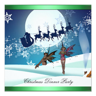 "Christmas Dinner Party 8 Invitation 5.25"" Square Invitation Card"