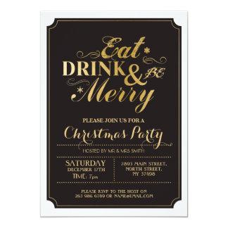 Christmas Dinner Party Gold Snow Flake Xmas Invite