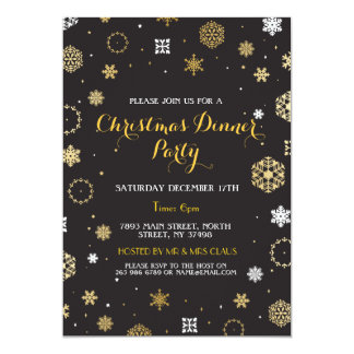 Christmas Dinner Party Gold Snow Flakes Invite