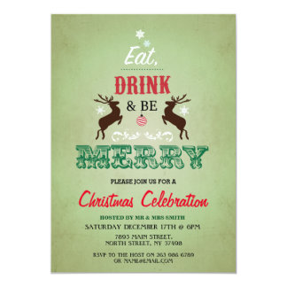 Christmas Dinner Party Green Xmas Reindeers Invite