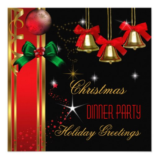 Christmas Dinner Party Holiday Red Black Ornaments Invitations