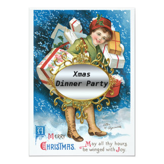 "Christmas Dinner Party Invitation 5"" X 7"" Invitation Card"