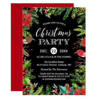 Christmas Dinner Party   Rustic Berries and Pines Card