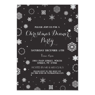 Christmas Dinner Party Silver Snow Flakes Invite