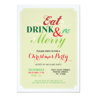 Christmas Dinner Party Snow Flakes Xmas Invitation