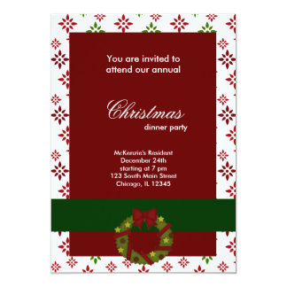 Christmas Dinner Snowflakes Personalized Invitation