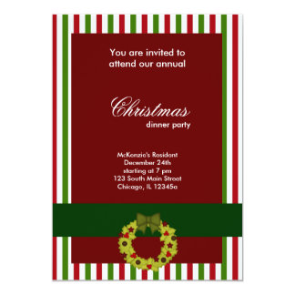Christmas Dinner Stripes Personalized Invitation