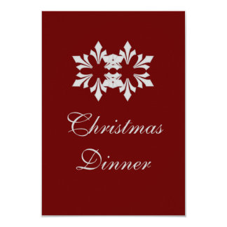 """Christmas Dinner"" - Winter Gray Snowflake [b] 9 Cm X 13 Cm Invitation Card"