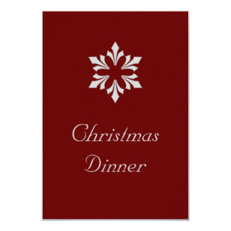 """Christmas Dinner"" - Winter Gray Snowflake 3.5"" X 5"" Invitation Card"
