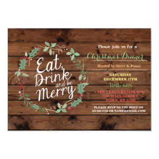 Christmas Dinner Wood Eat Drink & Be Merry Invite