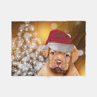 Christmas Dogue de Bordeaux throw fleece blanket