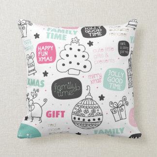 Christmas doodle illustration pillow cushions