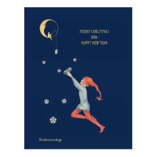Christmas elf, moon and gift - dark blue night postcard
