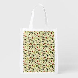 Christmas Eve Pattern Reusable Grocery Bag