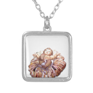 Christmas favor Baby Jesus in Bethlehem Silver Plated Necklace