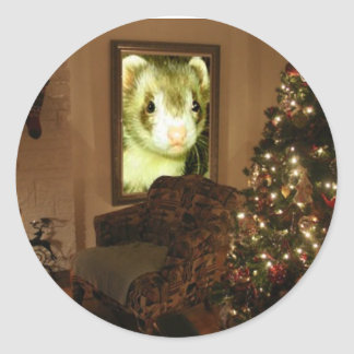 Christmas Ferret Holiday Sticker