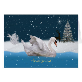 Christmas, Finnish Language, Snowy Night with Swan Greeting Card