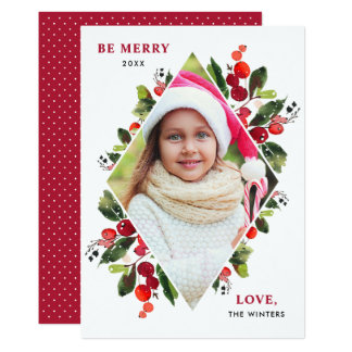 Christmas Florals | Watercolor Photo Card