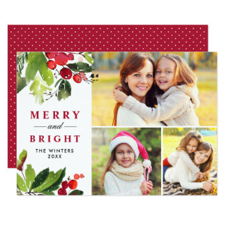 Christmas Florals | Watercolor Photo Collage Card
