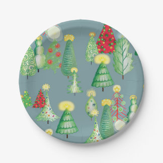 Christmas Forest Paper Plates 7 Inch Paper Plate