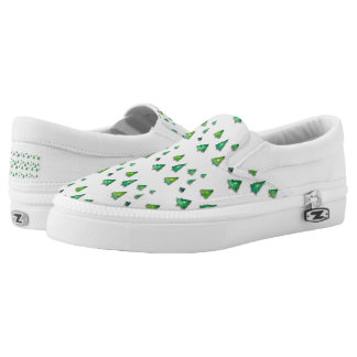 christmas forest pattern. slip on shoes