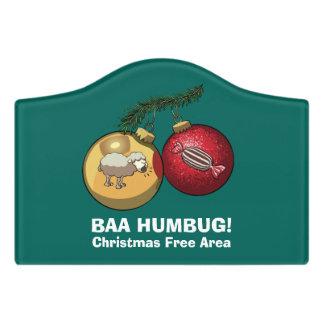 Christmas Free Area Baa Humbug Baubles Cartoon Door Sign