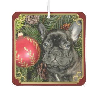 Christmas French Bulldog art car air freshener