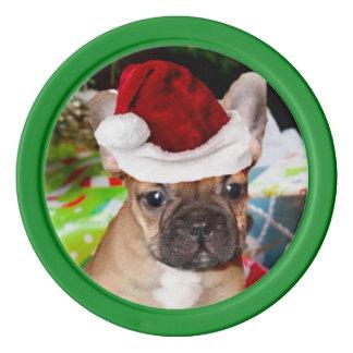 Christmas French Bulldog Poker Chips