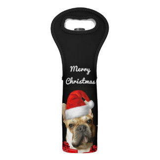 Christmas French bulldog wine bag
