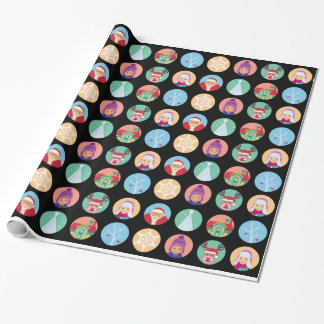 Christmas friends dot pattern (black) wrapping paper