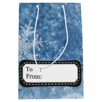 Christmas frozen snowflakes medium gift bag