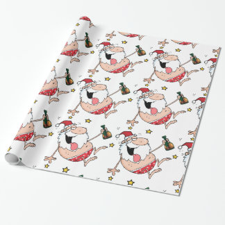Christmas Funny Drunk Santa Cartoon Customizable Wrapping Paper