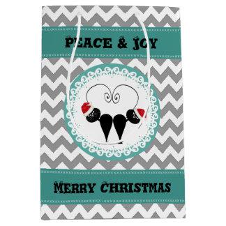 Christmas funny whimsical Santa cat couple chevron Medium Gift Bag