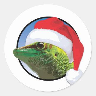 Christmas Gecko - Classic Round Sticker, Glossy Classic Round Sticker
