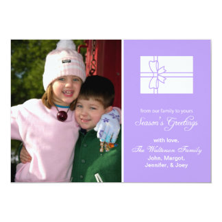 Christmas Gift Box Card Season's Greetings Violet