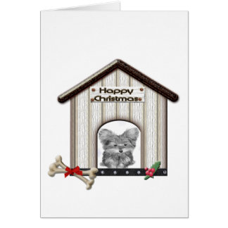 Christmas Gifts with Cute Yorkie Dog Greeting Card