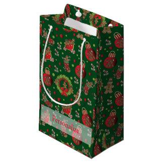 Christmas Gingerbread Men on Dark Green Background Small Gift Bag