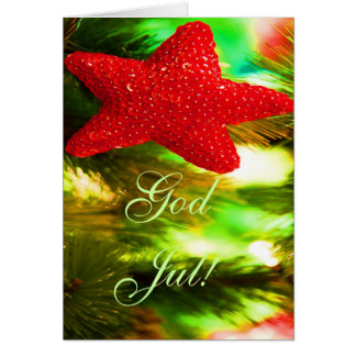 Christmas God Jul Red Star I Greeting Card
