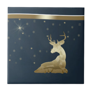 Christmas, Golden Deer and Snowflakes Tile