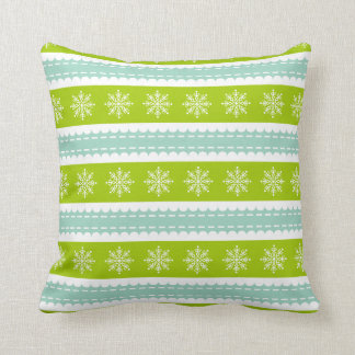 Christmas Green and Blue Stripes With Snowflakes Cushion