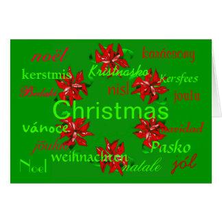 Christmas Green Wreath Around The World Card Greeting Card