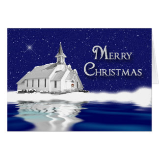 CHRISTMAS GREETING -  COUNTRY CHURCH - SNOW GREETING CARD