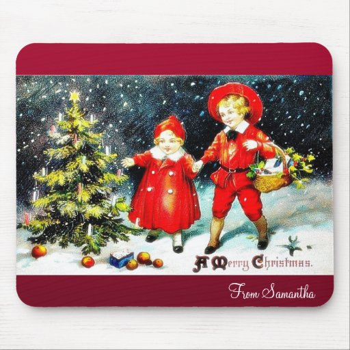 Christmas greeting envelope with garland around mouse pads