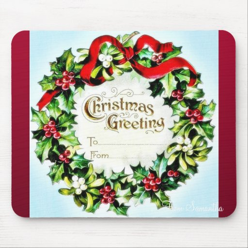 Christmas greeting envelope with garland around mousepad