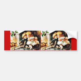 Christmas greeting with a two kids showing the chr bumper sticker