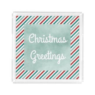 Christmas Greetings Green Holiday Acrylic Tray